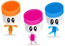 Zeichenauslegung der Plastikgläser oder der Behälter Stockbild