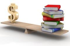 Zeichendollar und die Bücher auf Skalen. Stockbild