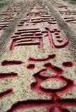 Zeichendrache auf Steinen Stockfoto