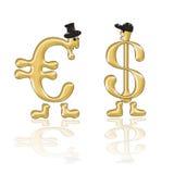Zeicheneurowährung und Zeichen-USA-Dollar Lizenzfreie Stockfotografie