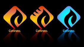 Zeichenfirma mit drei Feuern. Stockfotos