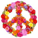 Zeichenfrieden von den Blumen Stockfotos