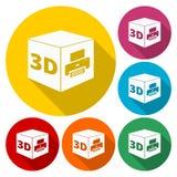 Zeichenikone des Druckes 3D, Symbol des Würfels 3d Druck lizenzfreie abbildung