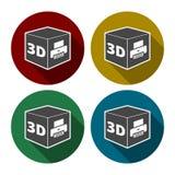 Zeichenikone des Druckes 3D, Symbol des Würfels 3d Druck vektor abbildung