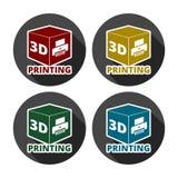 Zeichenikone des Druckes 3D, Symbol des Würfels 3d Druck stock abbildung