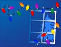 Zeichenkette der Weihnachtsleuchten Stockfotografie