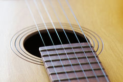 Zeichenketten einer Gitarre Stockbild