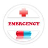 Zeichennotfall mit rotem Kreuz und einer Pille Lizenzfreies Stockbild