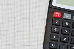 Zeichenpapier mit Maßeinteilung und Taschenrechner Lizenzfreies Stockfoto