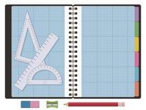 Zeichenpapier mit Maßeinteilungnotizbuch Stockfotos