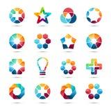 Zeichenschablonen eingestellt Kreative Zeichen des abstrakten Kreises Stockfoto