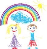 Zeichenstift geschmerzte Kinder und Regenbogen stock abbildung