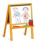 Zeichenstift-Zeichnungen des Kindes auf hölzernem Gestell vektor abbildung