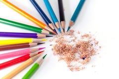 Zeichenstifte mit vielen schönen Farben verfügbar Stockfotos