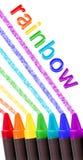 Zeichenstiftregenbogen über Weiß Stockfotografie