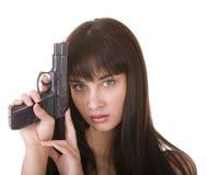 Zeichentiefstandfrau mit Gewehr. Stockbild