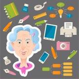 Zeichentrickfilm-Figur der alten Frau Lebensstilbetrug Tätigkeiten der alten Leute vektor abbildung
