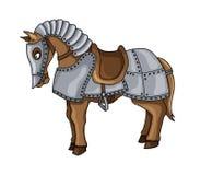 Zeichentrickfilm-Figur des Schlachtrosses in der Rüstungsklagenillustration lokalisiert auf Weiß lizenzfreie stockfotografie