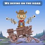Zeichentrickfilm-Figur des wilden Westens, definieren auf der Straße lizenzfreie abbildung