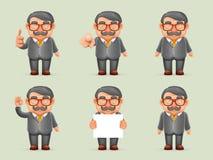 Zeichentrickfilm-Figur-Design-Vektor des Geschäftsmann-Different Actions Man-Schnurrbart-Aussenseiter-Hippie-3d realistischer Lizenzfreie Stockfotografie