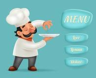 Zeichentrickfilm-Figur-Design-Vektor-Illustrator Menü-Knopf-Schnittstellen-Chef-Koch-Serving Foods 3d realistischer Stockfotos