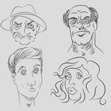 Zeichentrickfilm-Figur-Gesichter Lizenzfreie Stockfotos