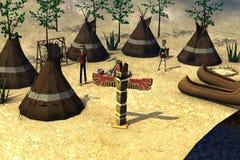 Zeichentrickfilm-Figur in indischem village3 lizenzfreie abbildung