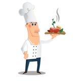 Zeichentrickfilm-Figur mit einem Teller Lizenzfreies Stockbild