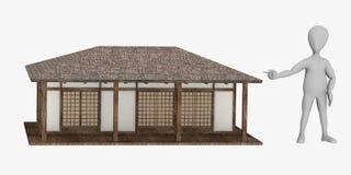 Zeichentrickfilm-Figur mit japanischem house5 Stockfoto