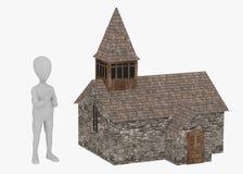 Zeichentrickfilm-Figur mit mittelalterlicher Kirche Stockfotografie