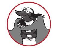 Zeichentrickfilm-Figur-Mole auf weißem Hintergrund Stockfotos