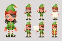 Zeichentrickfilm-Figur-realistischer Ikonen-Bühnenbild-Vektor Mädchen-nette Elfen-Weihnachts-Santa Teen Icons New Year-Feiertags- Stockbild
