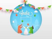 Zeichentrickfilm-Figur von den Leuten, die indischen glücklichen Unabhängigkeitstag feiern stock abbildung