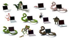 Zeichentrickfilm-Figuren des Digital-Dschungel-3D Stockfotos