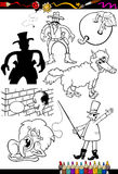 Zeichentrickfilm-Figuren eingestellt für Malbuch Lizenzfreie Stockbilder