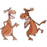 Zeichentrickfilm-Figuren, Gespräch mit zwei Elchen Lizenzfreies Stockbild
