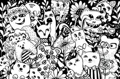 Zeichentrickfilm-Figuren im Stil des kawaii mit dem Bild von Tieren, von Vögeln und von Blumen Entwurfshintergründe, Tapeten, Abd stock abbildung