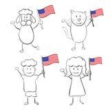 Zeichentrickfilm-Figuren mit US-Flagge Lizenzfreies Stockfoto