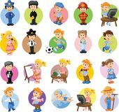 Zeichentrickfilm-Figuren von verschiedenen Berufen Lizenzfreies Stockbild