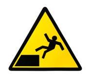 Zeichenwarnung für Absturzgefahr Lizenzfreies Stockbild