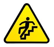 Zeichenwarnung für glatte Treppe, wenn naß Stockfotos