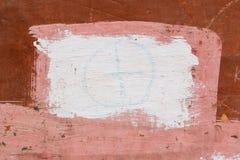 Zeichnen auf die Wand mit einem alten Schalenbraungips gemalt mit rosa und weißer Farbe Stockbild