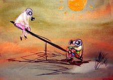 Zeichnen auf Papier des Spielens von Kindern in der Gasmaske Lizenzfreie Stockfotos