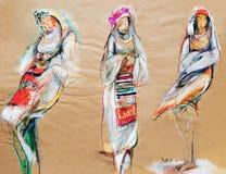 Zeichnen auf Papier von drei traditionellen bulgarischen Frauen Stockbild