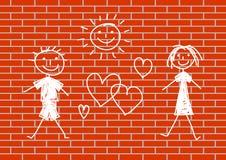 Zeichnen auf Wand stock abbildung