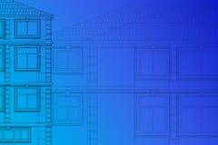 Zeichnen der Fassaden der Häuser auf einem blauen Hintergrund stockfotos