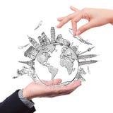 Zeichnen der Traumreise um die Welt Lizenzfreie Stockfotos
