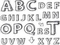 Zeichnen des Alphabetes. Zeichen sind nicht Hintergrund. Lizenzfreies Stockfoto