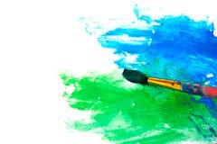 Zeichnen einer Abbildung mit Malerpinsel Stockfotografie