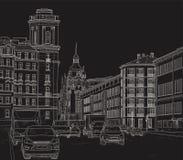 Zeichnen einer Stadtstraße Lizenzfreie Stockbilder